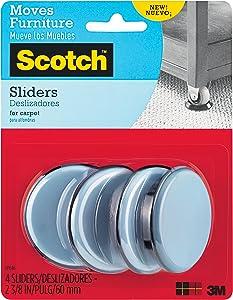 Scotch Reusable Sliders, Gray/Black, 2-3/8 in. Diameter, 4 Sliders/Pack, 4-Packs (16 Total)
