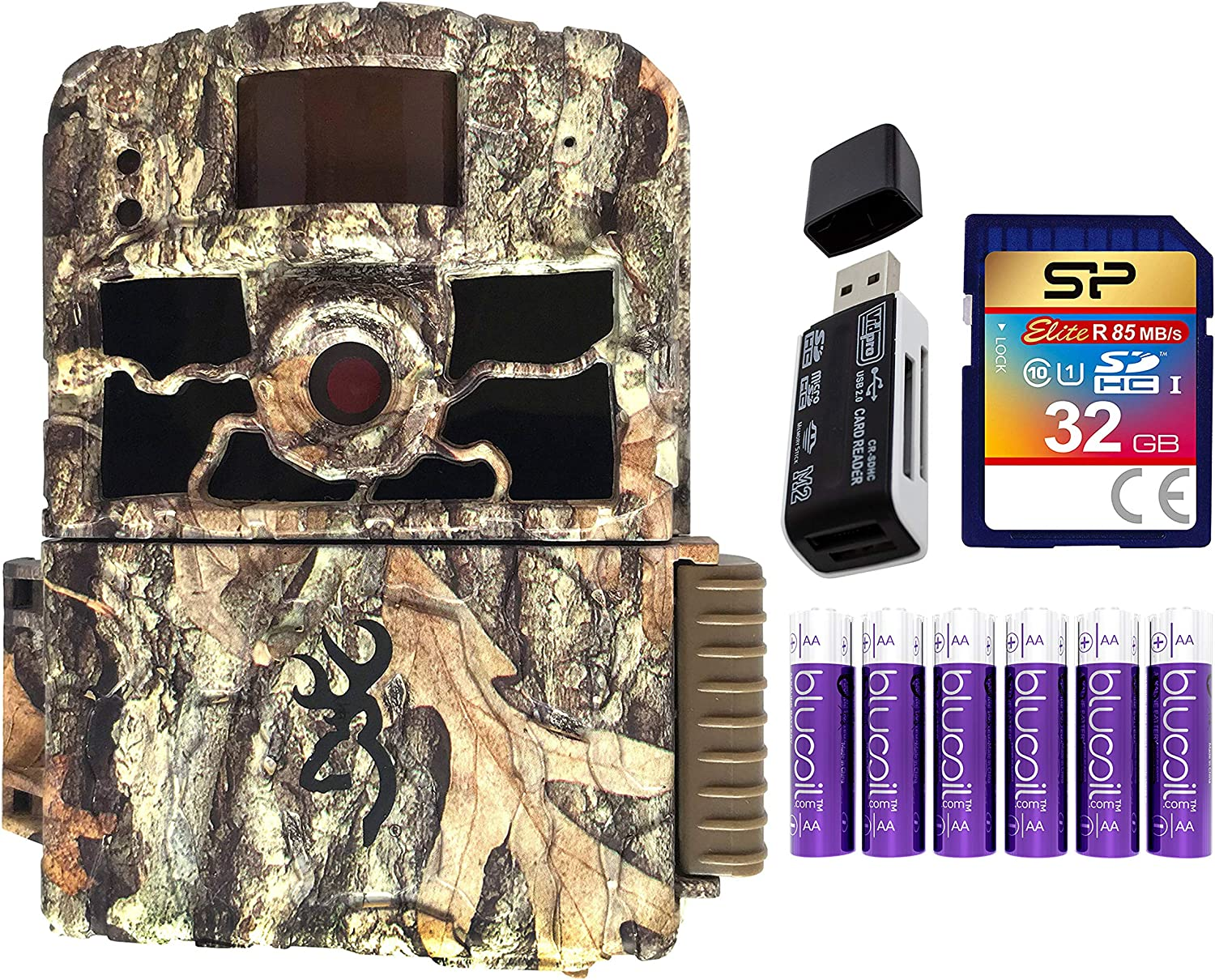 Browning BTC-6HD-MAX Dark Ops HD MAX Trail Camera with Smart IR Video Recording Bundle with Blucoil 6 AA Batteries, 32GB SDHC Memory Card, and USB 2.0 Card Reader