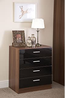 Chest Of 4 Drawers In Black High Gloss Walnut Frame