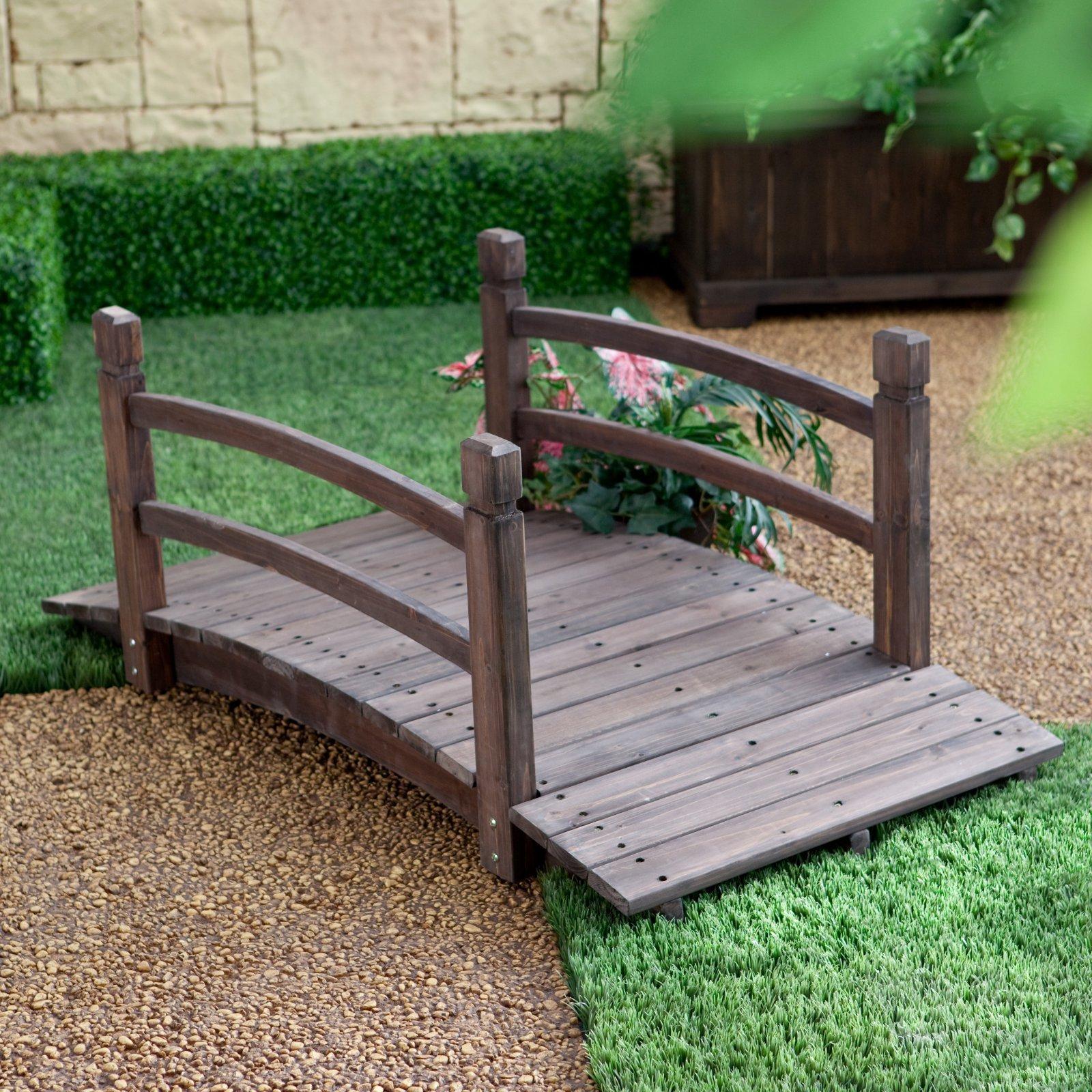 Espresso Brown Finish Wood 48'' Garden Bridge Outdoor Yard Lawn Landscaping Decor