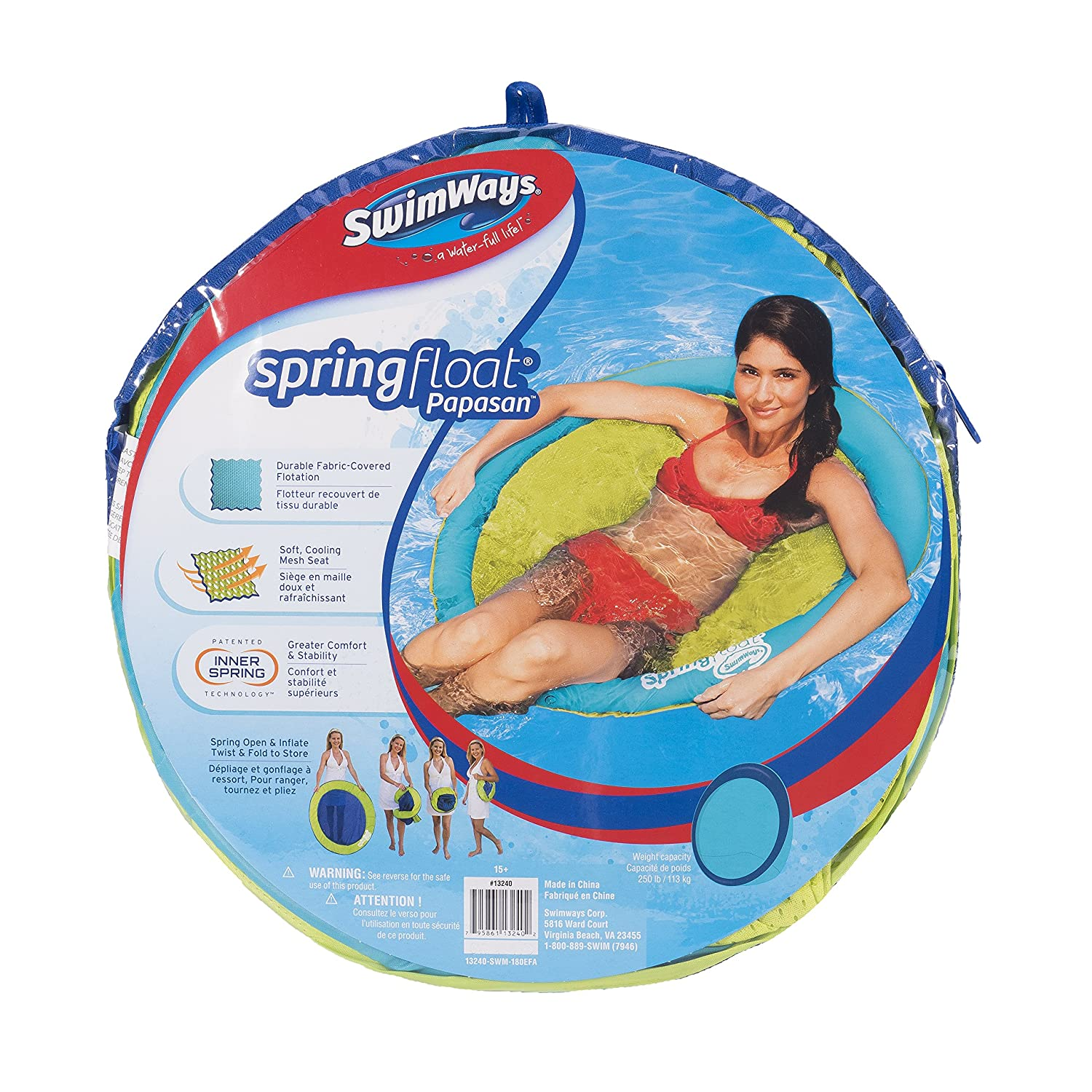 Amazon.com: Swimways Spring Float Papasan Pool Chair, Light Blue ...