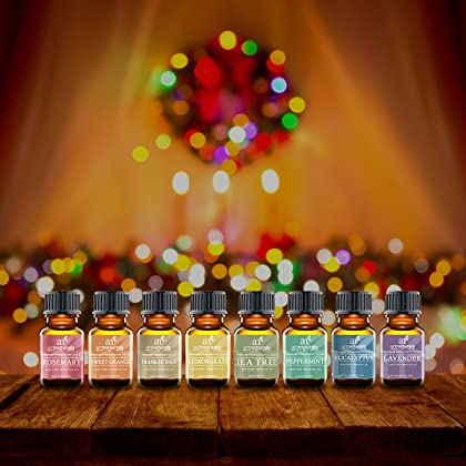 ArtNaturals Therapeutic-Grade Aromatherapy Essential Oil Set – Top 8 Pure of the Highest Quality Oils – Peppermint, Tea Tree, Rosemary, Sweet Orange, Lemongrass, Lavender, Eucalyptus, Frankincense