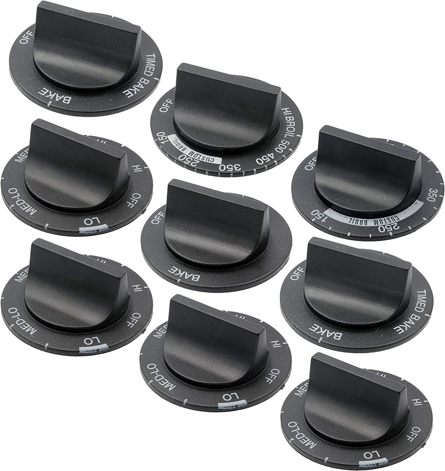 Supplying Demand 814362 9 Piece Range Knob Kit Compatible With Whirlpool Fits EA389194, PS389194