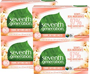 Seventh Generation Dryer Sheets, Fabric Softener, Morning Meadow Scent, 80 Count, 4 Pack