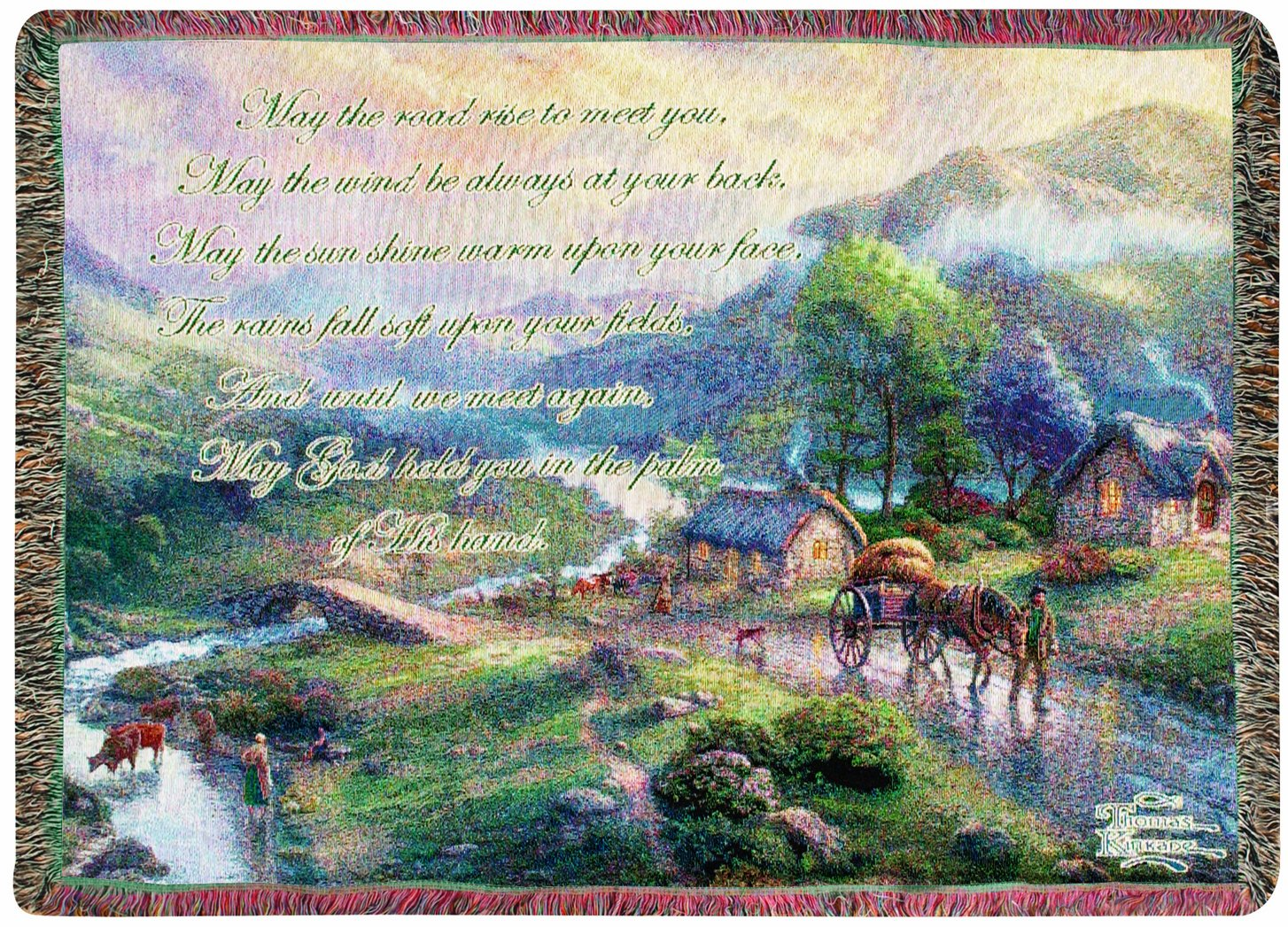 Manual Thomas Kinkade 50 x 60-Inch Tapestry Throw with Verse, Emerald Valley