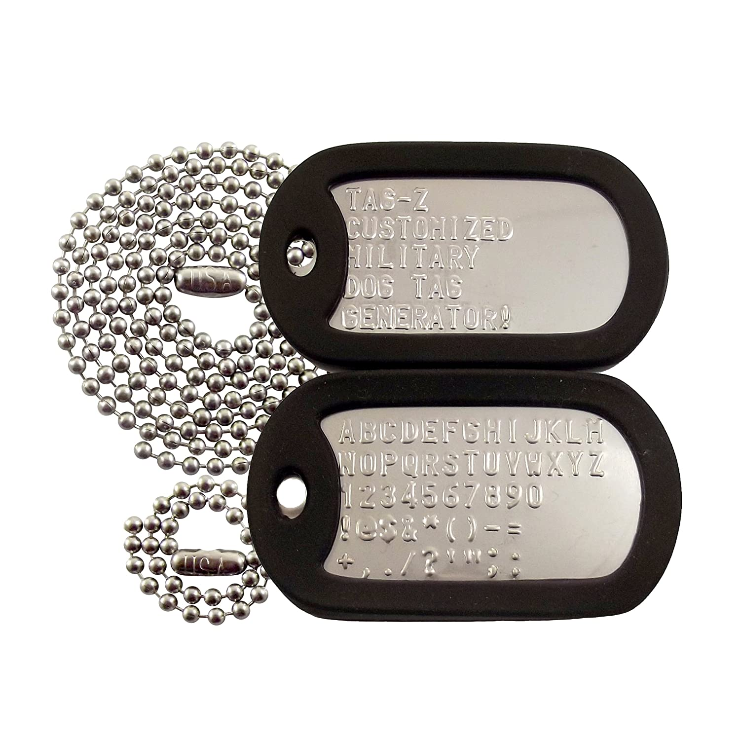 c7d05fca3476 Customized Military Dog Tags - Stainless Steel Dog Tags with Black Silencers