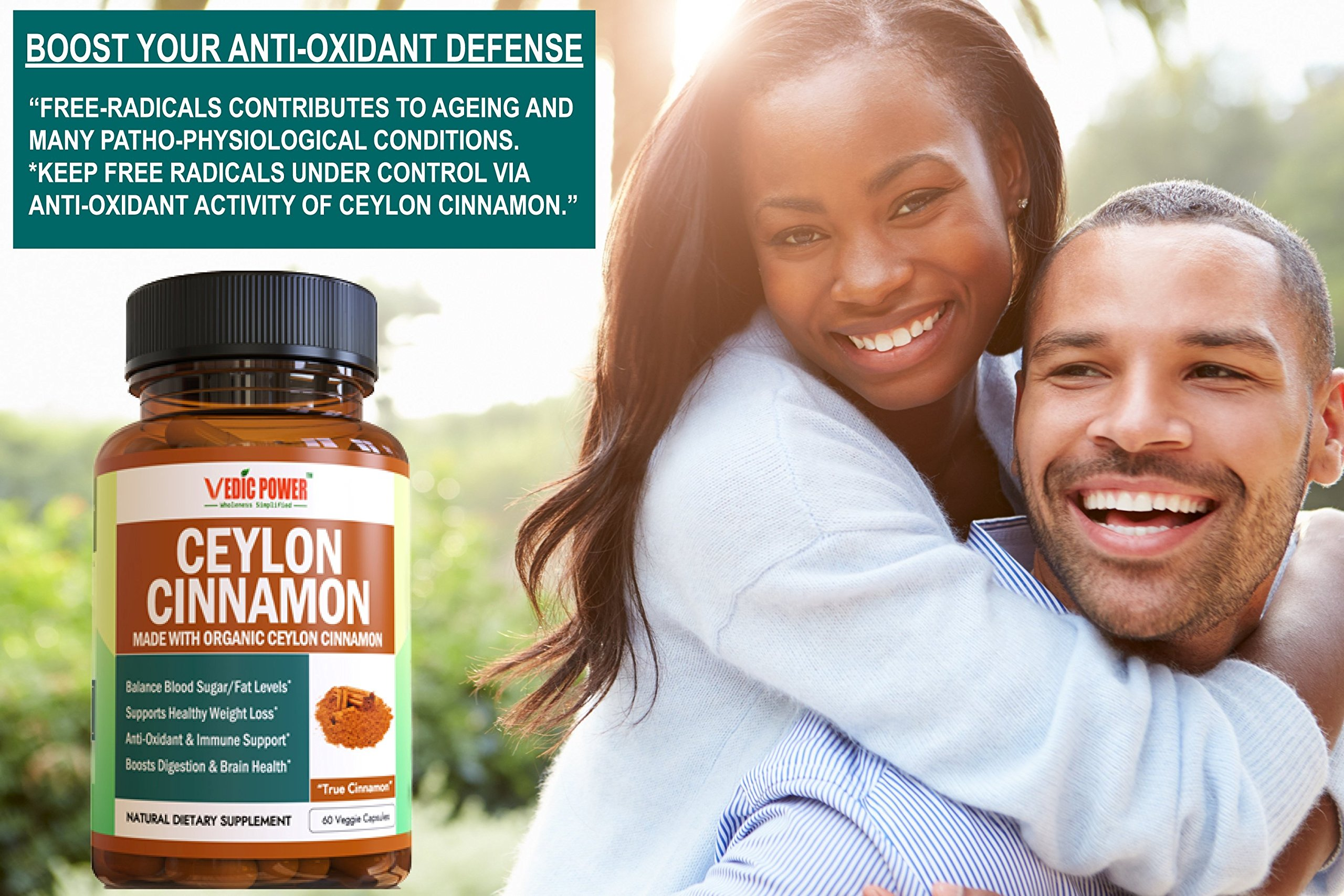Organic Ceylon Cinnamon (UDAF Certified) 60 Capsules, 1200 mg per Serving Helps Manage Blood Sugar/Fat Levels, Boosts Heart Health, Anti-Oxidant & Immune Support by Vedic Power (TM) Wholeness Simplified (Image #6)