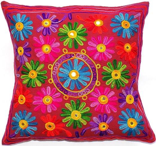 Flores Hojas granate rojo Vino pavo real tapiz multicolor ...