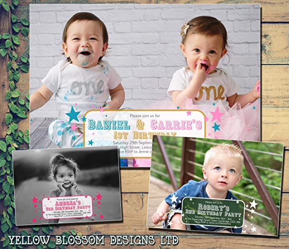 Personalised 1st 2nd 3rd Birthday Invitations Party Invites Photo Boy Girl Full Quality Cards 5