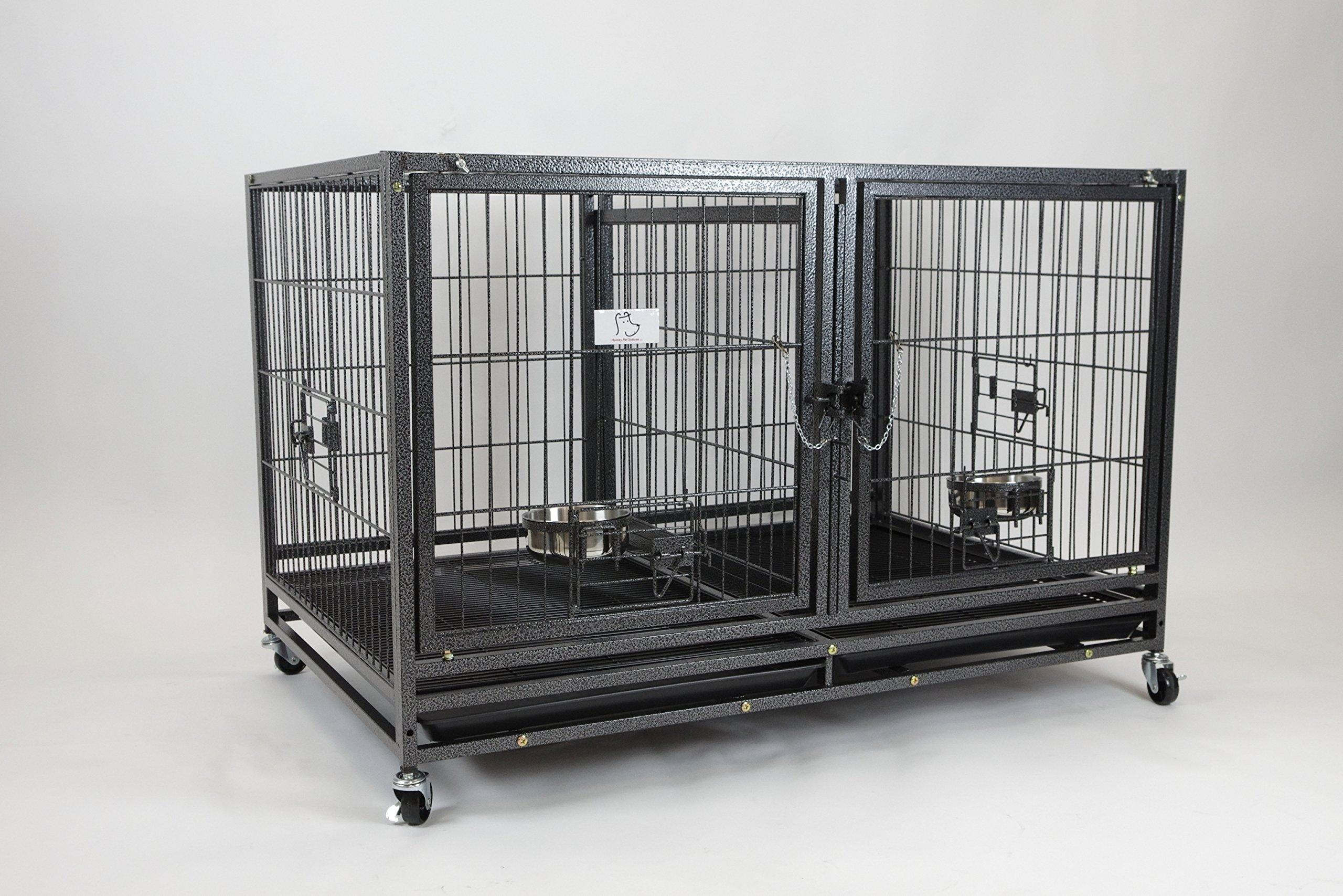Homey Pet-43 All Metal Open Top Stackable Heavy Duty Cage(Upper) w/Floor Grid, Tray, Divider, and Feeding Bowl by Homey Pet (Image #3)