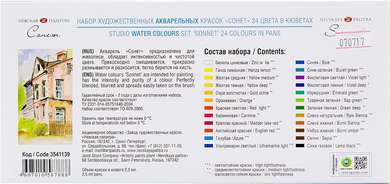 Sonnet Acuarelas Profesionales | 24 Acuarelas Portatiles En Pastillas | Acuarelas De Alta Calidad Hechos En Rusia Por Neva Palette: Amazon.es: Juguetes y juegos