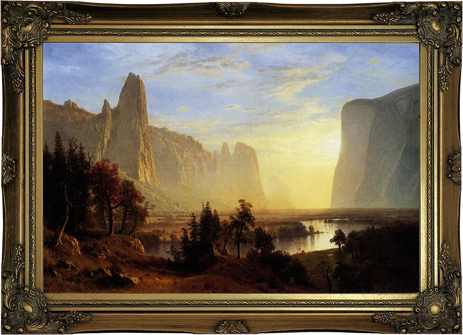THE DOMES OF YOSEMITE /& VALLEY LANDSCAPE PAINTING ART REAL CANVAS PRINT