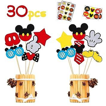 Amazon.com: MALLMALL6 30 piezas de centros de mesa de Mickey ...