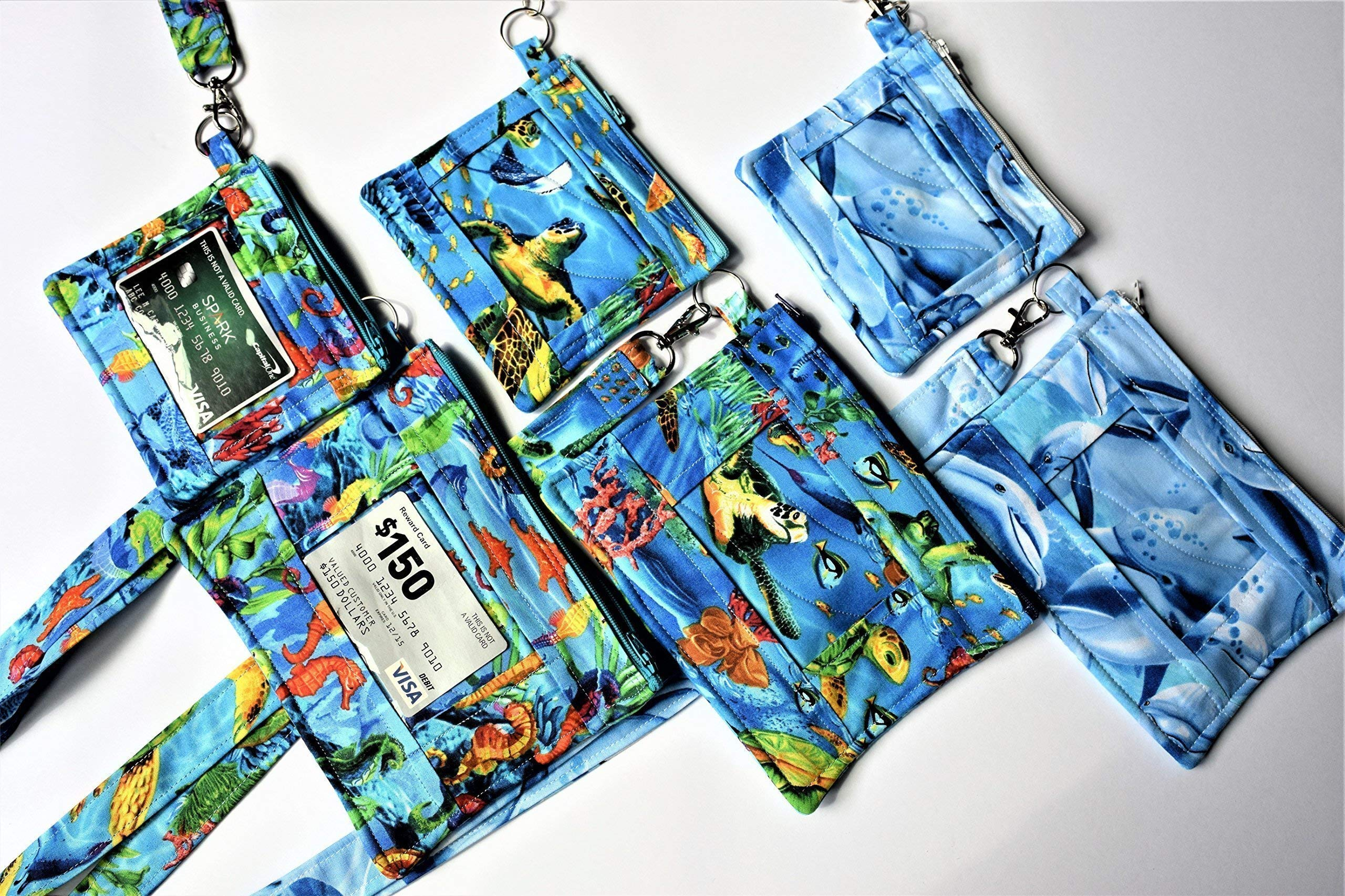 Dolphin, Sea Horses, Sea Turtles or Flowers ID Lanyard/XL or Regular Sized Pouch ID Holders,Park Pass Holder,Zippered Phone Case,Work School