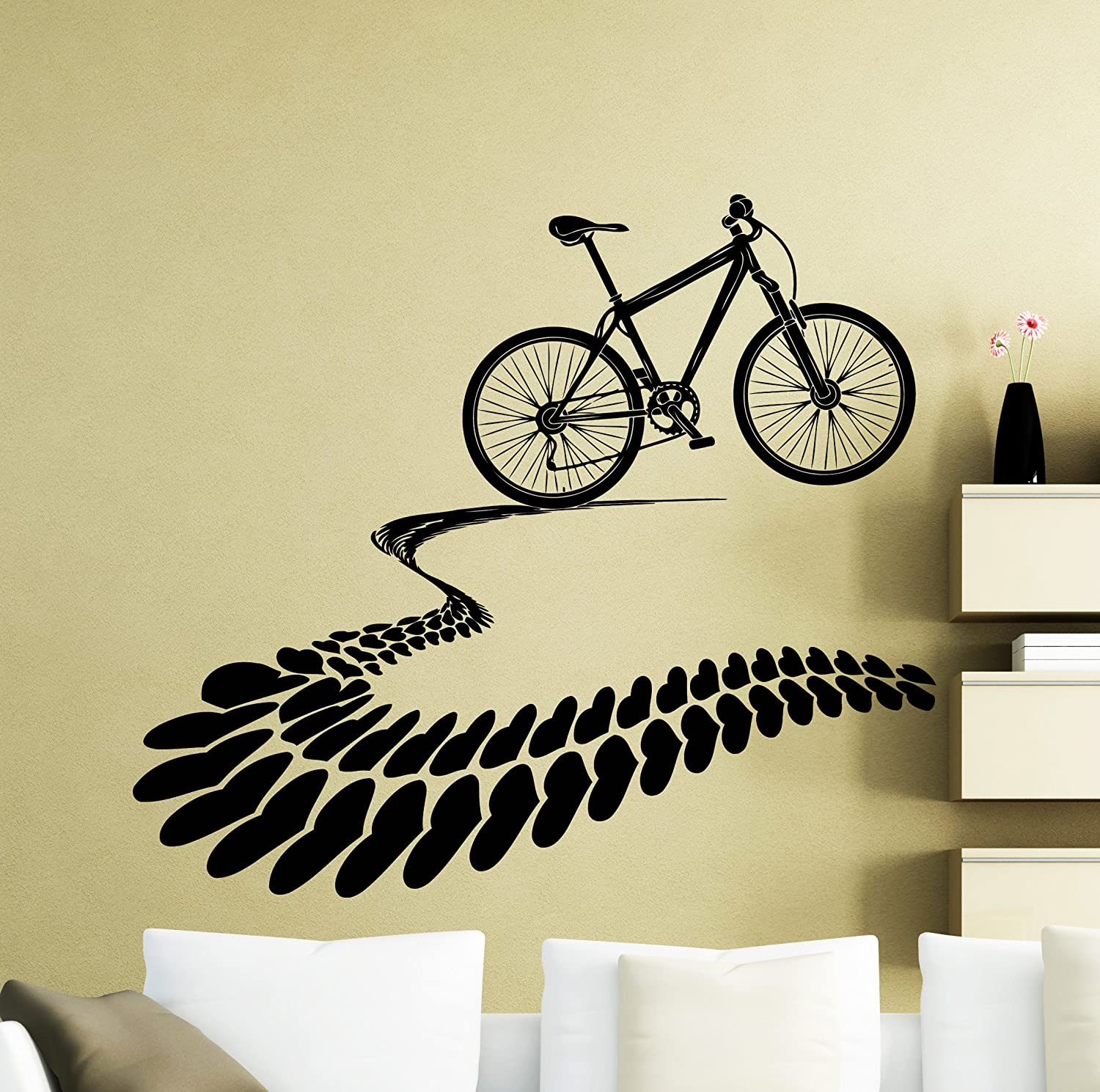I Love Mountain Bike Tire Tracks Wall Decal Hearts Bicycle Bicycler ...