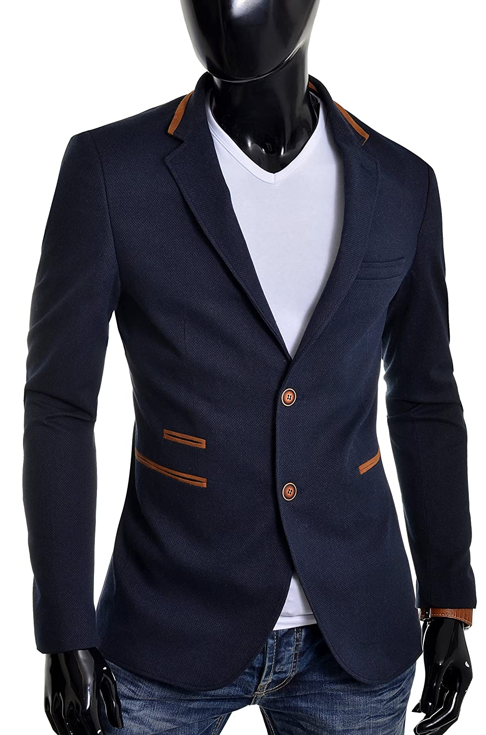 D&R Fashion Mens Blazer Jacket Blue Slim Fit Elbow Patches Smart Casual Sport at Amazon Mens Clothing store: