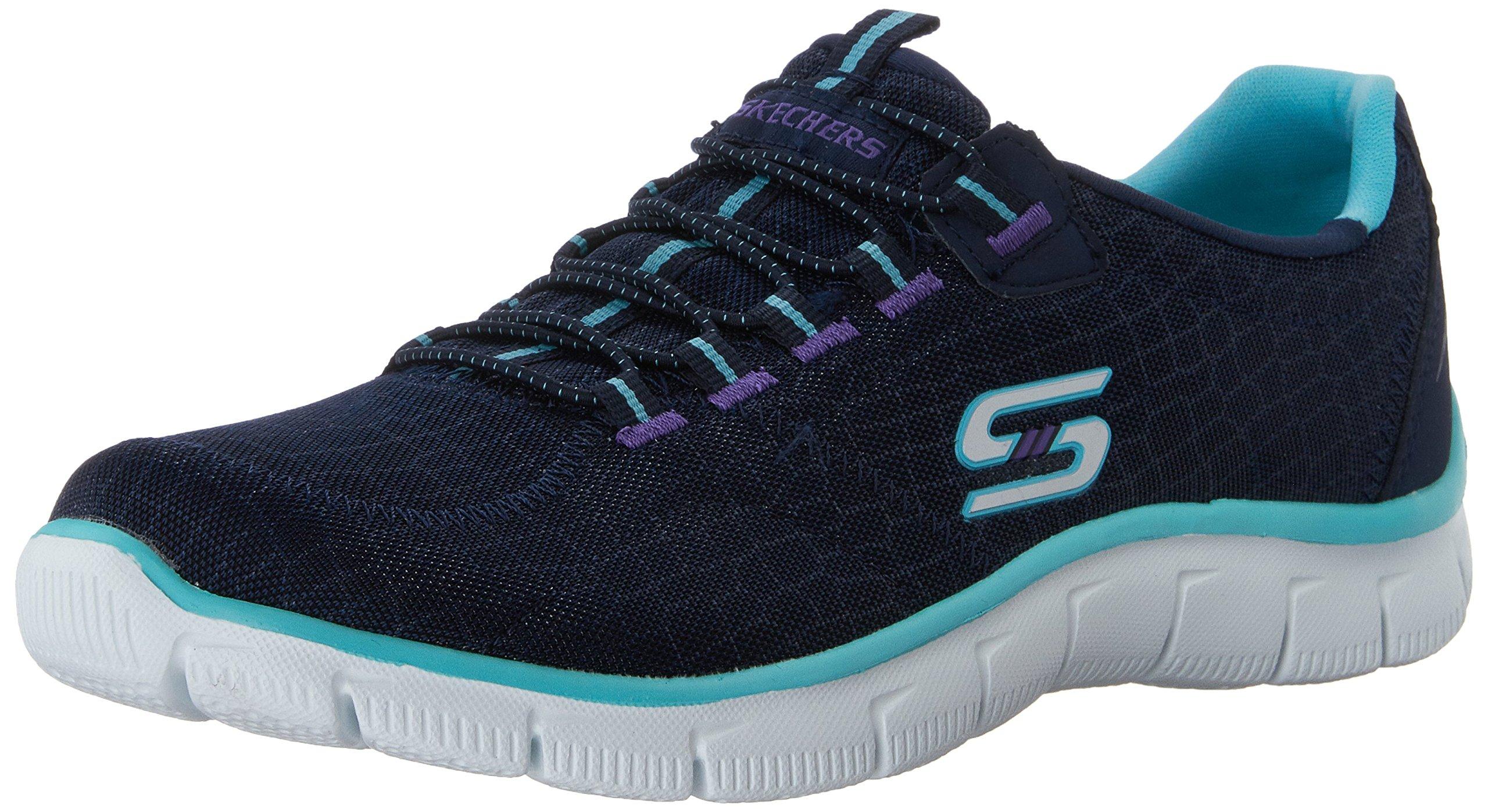 Skechers Sport Women's Rock Around Fashion Sneaker,Navy/Aqua,9.5 M US