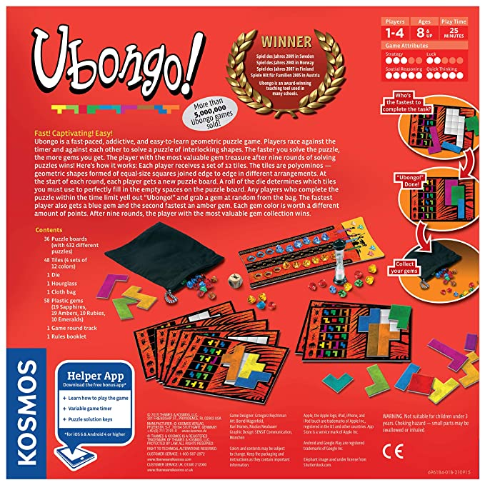 Thames Kosmos Ubongo Sprint To Solve The Puzzle Family Friendly Fun Game Highly Re Playable Quality Components Made In Germany