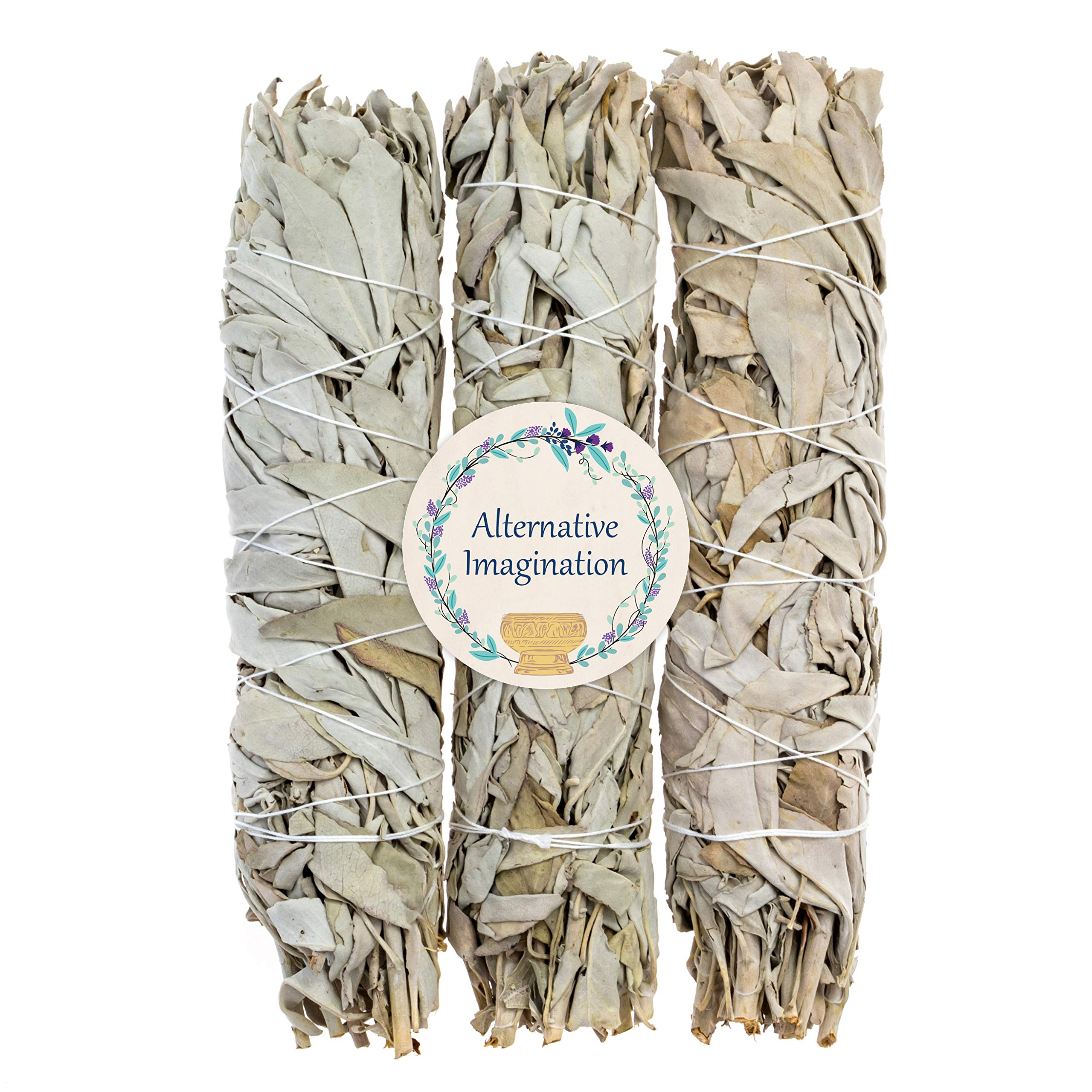 3 Premium California White Sage, Each Stick Approximately 8 Inches Long and 1.25 Inches Wide for Smudging Rituals, Energy Clearing, Protection, Incense, Meditation, Made in USA by Alternative Imagination