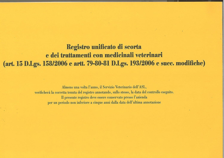 23 Pagine Numerate F.To 24.5 x 31 Edipro E2888 Registro Unificato di Scorta Medicinali Veterinari e dei Trattamenti Copertina Gialla