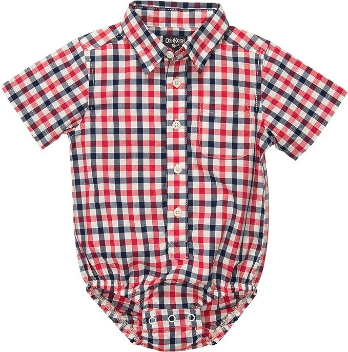 OshKosh BGosh - Camisa de manga corta para niño, diseño de cuadros rojo y azul 24 Meses: Amazon.es: Ropa y accesorios