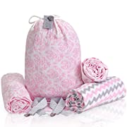 Muslin Swaddle Blankets – Cotton Baby Wrap for Swaddling, Stroller Blanket, Burp Cloth – Perfect Baby Shower Gifts – Newborn Swaddle Blanket Set + FREE Pacifier Clips + Card by Kululush Babies – Pink