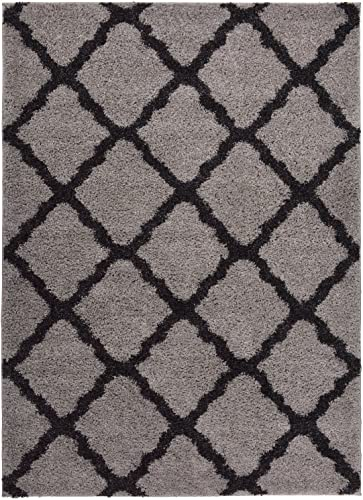 RugStylesOnline SOHO Shaggy Collection Trellis Lattice Design Shag Area Rug Rugs 3 Color Options, Grey