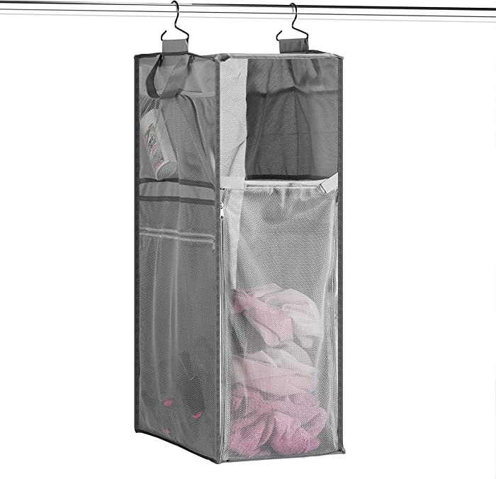 Space Saving Hanging Laundry Hamper [70L Load Capacity] - Free Up Floor Space, Breathable Mesh Hanging Laundry Bag & Side Pockets, Carrying Handles, Zippered Front for Easy Unloading, Ideal for Dorms
