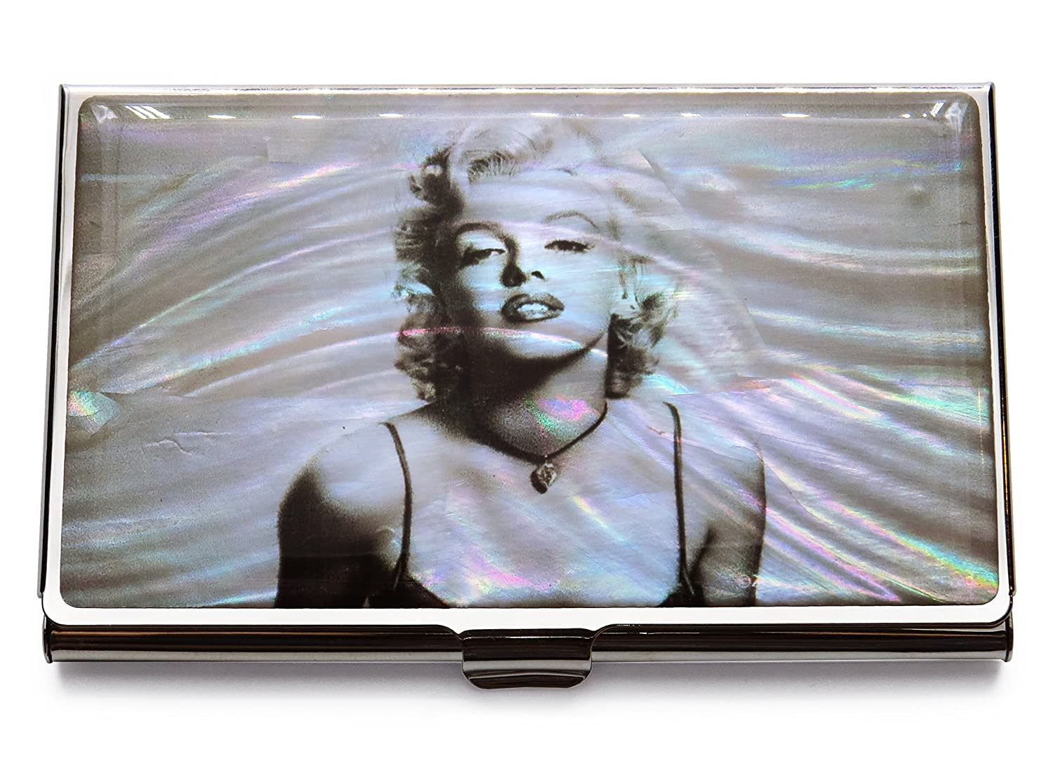bcacec4b5f3f Marilyn Monroe Business Credit Card Case Id Holder Metal Travel Wallet  Mother of Pearl