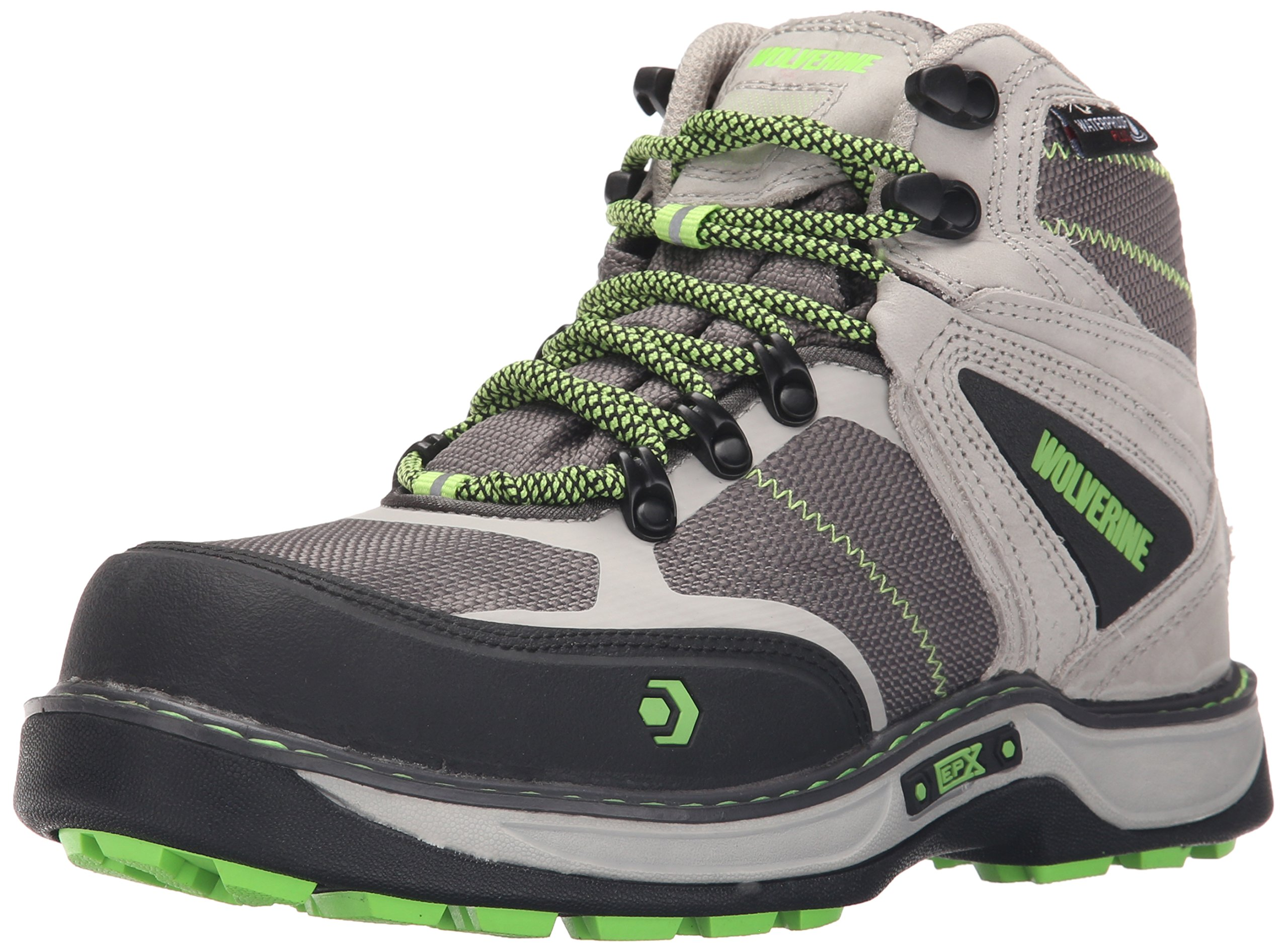 Wolverine Women's Edge FX Work Boot, Grey/Lime, 7 M US