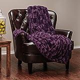 "Chanasya Super Soft Fuzzy Fur Elegant Faux Fur Rectangular Embossed Pattern With Fluffy Plush Sherpa Cozy Warm Purple Microfiber Throw Blanket (50"" x 65"") - Aubergine"