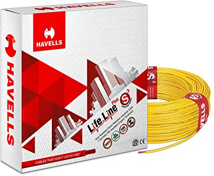Havells Life Line Plus S3 1.5 sq mm PVC HRFR Cable (Yellow)