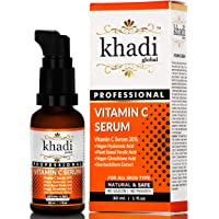 Khadi Global Vitamin C Serum with Vitamin E, Vegan Hyaluronic Acid, Ferulic Acid and Vegan Glutathione Acid Serum (30 ml)