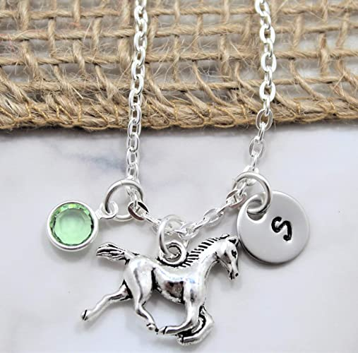 Horse Necklace  with Initial and Birthstone - Horse Lover Gift
