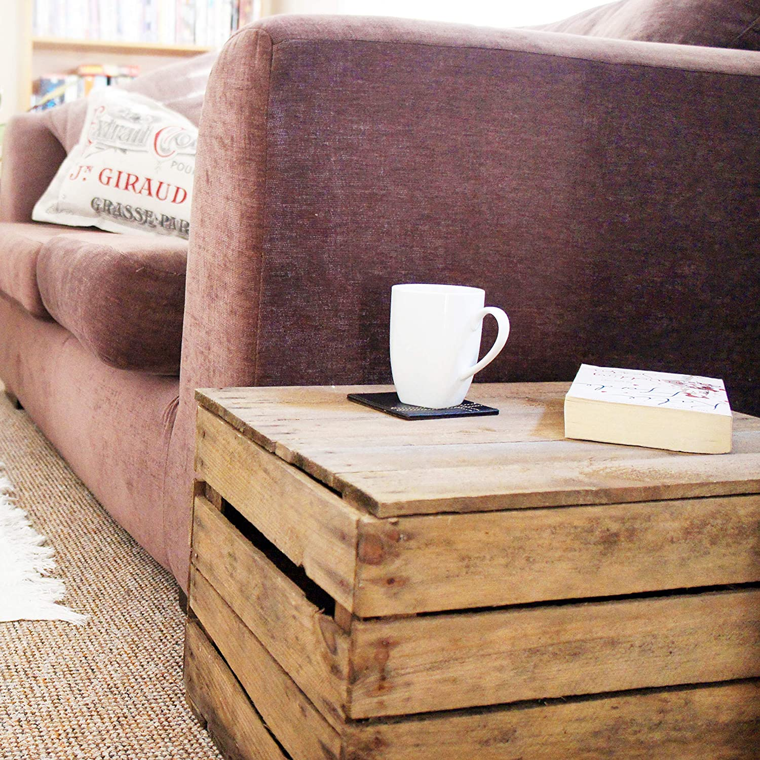 - Small Wooden Coffee Table/Sofa Side Table - Vintage Apple Crate