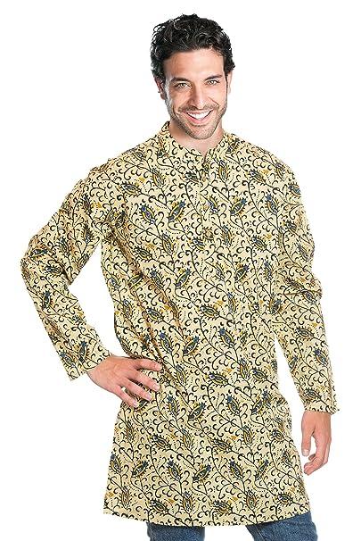 ufash Camisa Kurta de la India, Estampado Tradicional a Mano - 100% Algodón,