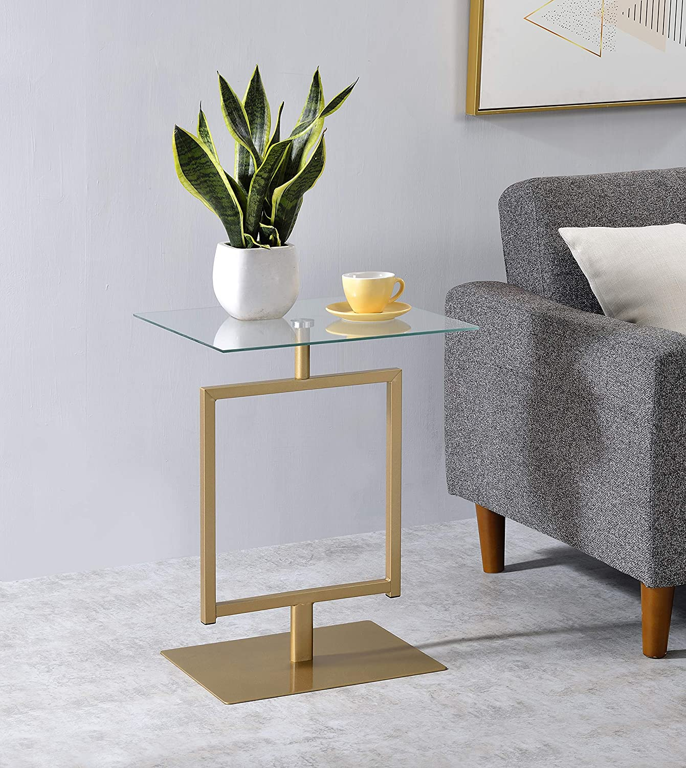 Kings Brand Furniture - Molein Modern Accent Side End Table, Gold Metal/Glass