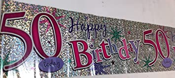 Jumbo happy 50th birthday banner pink purple silver amazon jumbo happy 50th birthday banner pink purple silver publicscrutiny Images