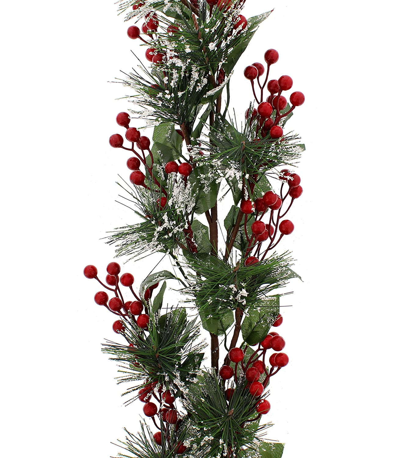108cm Artificial Red Berry And Green Leaf Snow Garland Christmas Home Indoor Decoration UK-Gardens