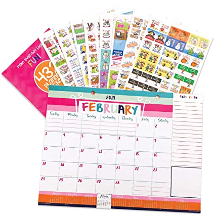 2019-2020 Monthly Desk Calendar 18-Month + Event Stickers Variety Set (Monthly Planner Pad + Busy Mom Stickers)