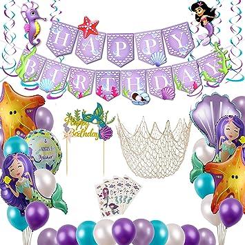 Amazon.com: Suministros de fiesta de sirena con decoraciones ...
