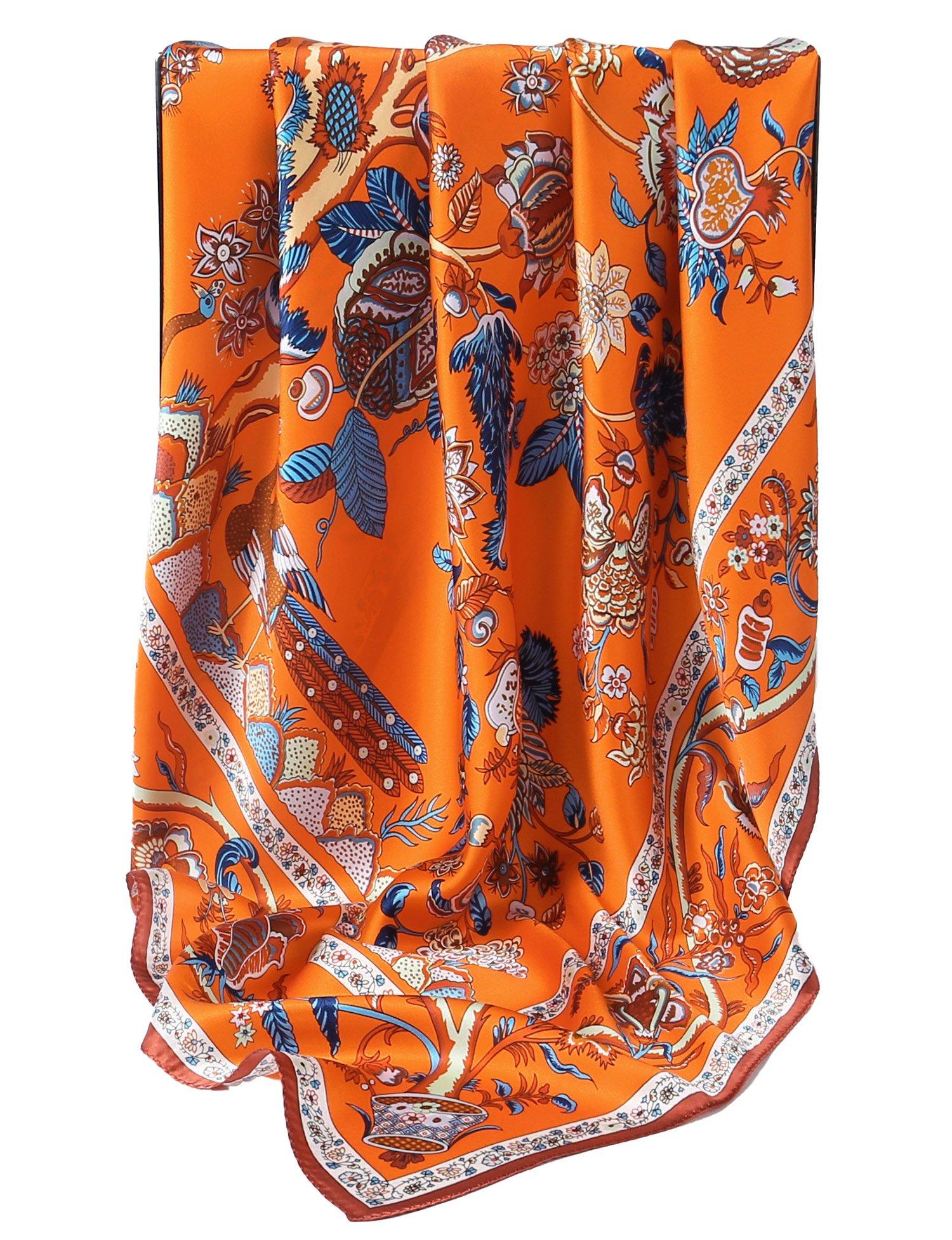 Grace Scarves 100% Silk Scarf, Extra-Large, Beanstalk, Orange by Grace Scarves