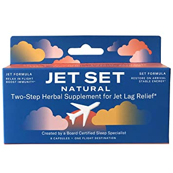 JET SET NATURAL, Two-Step Herbal Travel & Jet Lag Remedy Pills | Sleep Specialist Created |...