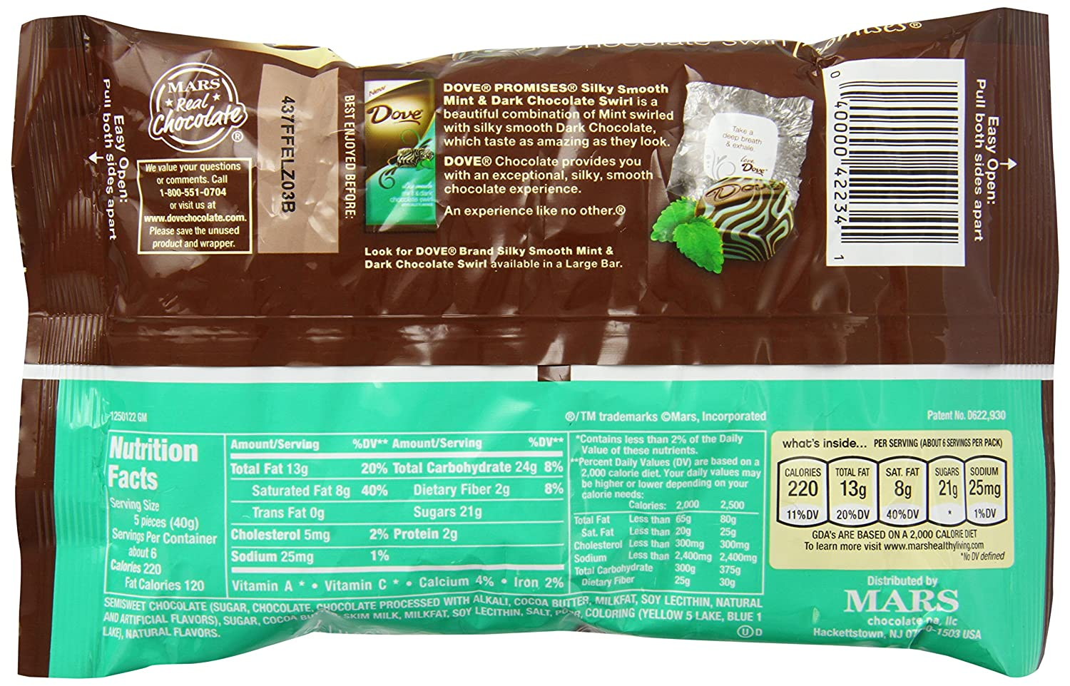 Calories In Dove Dark Chocolate Mint
