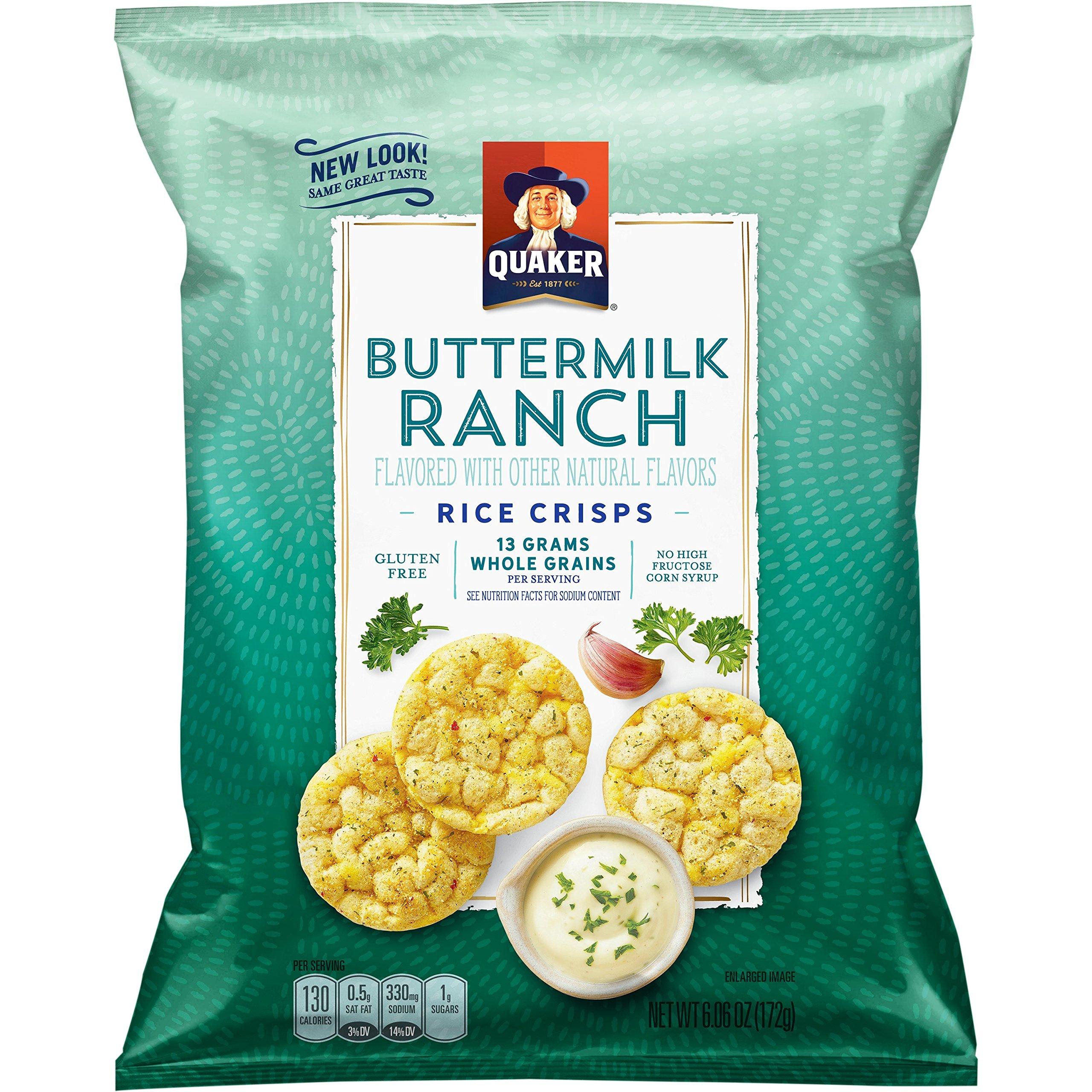Quaker Rice Crisps, Gluten Free, Buttermilk Ranch, 6.06oz Bags, 6 Count by Quaker