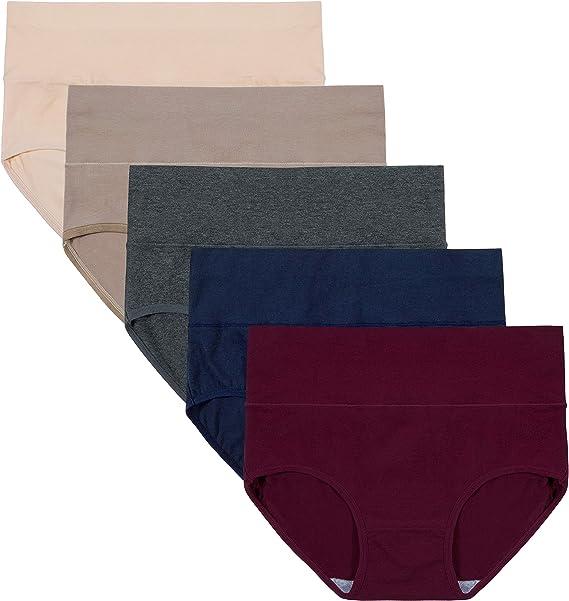 INNERSY - Braguitas de algodón para mujer, talla alta, talla grande, 5 unidades: Amazon.es: Ropa y accesorios