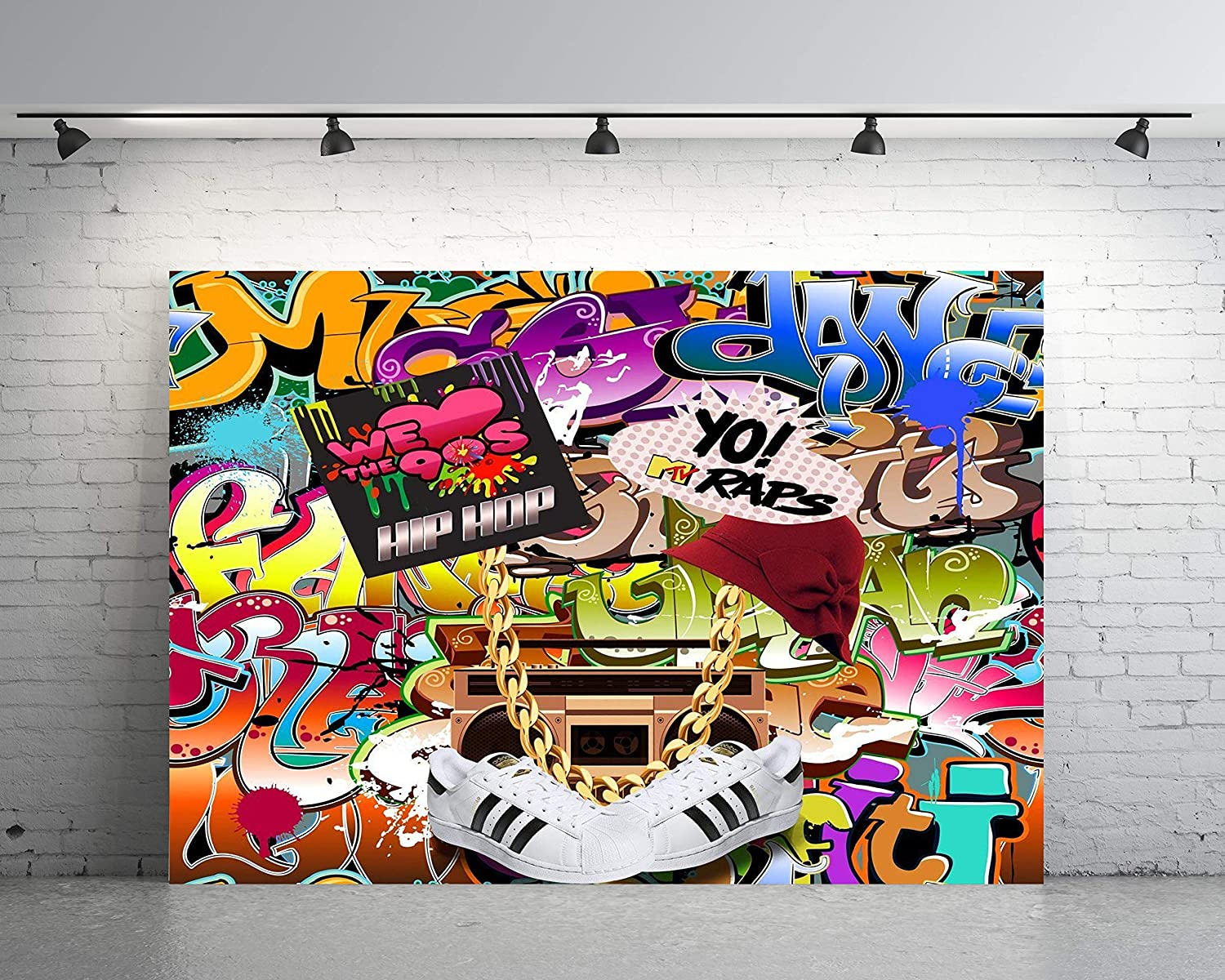 7x5ft backdrop hip hop graffiti wall 80s and 90s party theme customized photography vinyl photo background 0011a