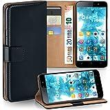 Cover OneFlow per Huawei Honor 4X Custodia con scomparti documenti | Flip Case Astuccio Cover per cellulare apribile | Custodia cellulare Cover rotettiva Accessori Cellulare protezione Paraurti DEEP-BLACK