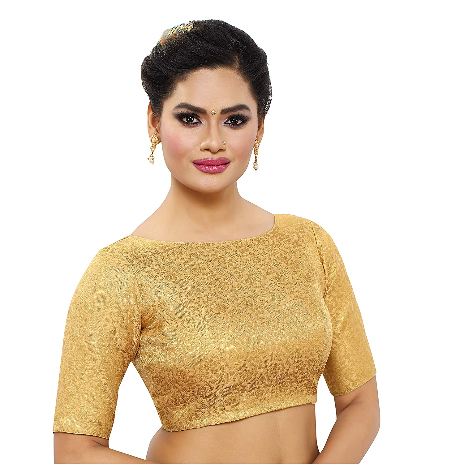 5bde4bc0a3bbf MADHU FASHION s Women s Golden Banaras Brocade Readymade Saree Blouse with  Elbow Length Sleeves   with Boat Neck  Amazon.in  Clothing   Accessories