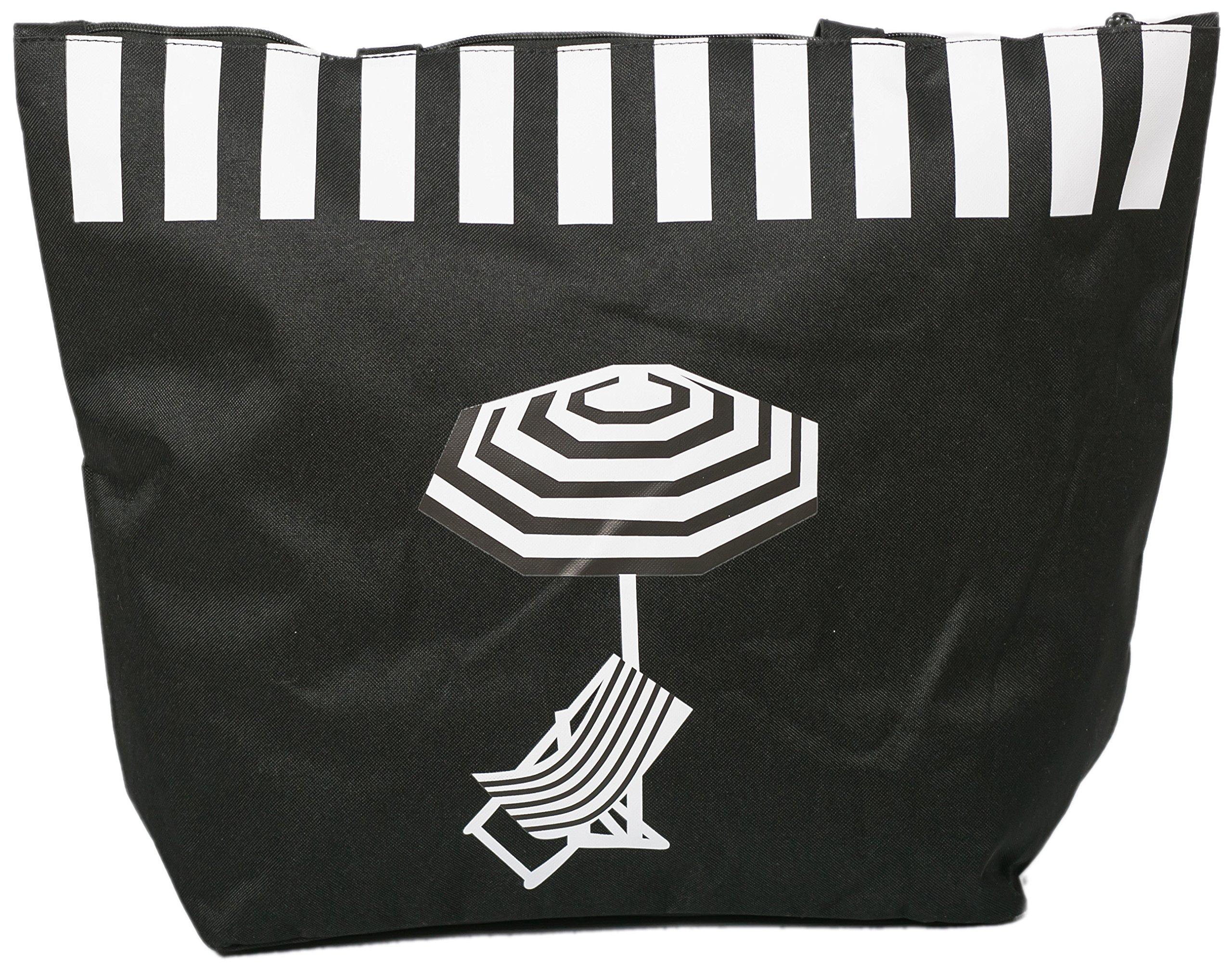 Bolsa de Playa para Mujer Grandes Tote Bolso de Compras Diseño de Tumbona Paraguas Airee Fairee
